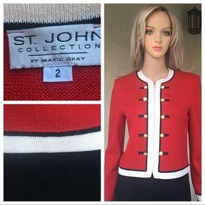St. John collection red/ivory/black jacket size 2